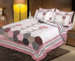 Attractive King Size Twill Cotton Bedsheet with 2 Pillow Covers - Multi-Color