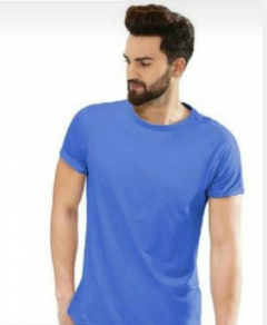 Solid Blue Color Cotton Round Neck Half Sleeves T-Shirt For Men's