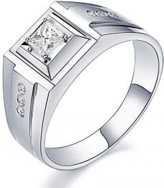 Silver Rhodium Plated Ring Bass Metrial Silver with Rhodium Plating Bis Hallmark certified