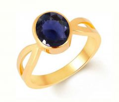 Jewelzon Iolite 9.3cts or 10.25ratti Panchdhatu 22K | Gold Plated Ring | Silver Sapphire Gold Plated Ring (Neeli)