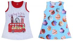 Hydes Buy One Get One Offer Printed Girls Kids Nighty Nightdress Super Soft Nightwear Cotton Hosiery One Piece Buy 1