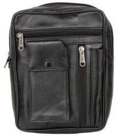 ASPENLEATHER Black Genuine Leather Travel Kit Bag