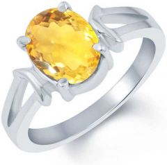 Jewelzon Certified Citrine 4.8 carat or 5.25 ratti Pure Silver Rhodium Plated Ring Ring Sterling Silver Citrine (sunela)