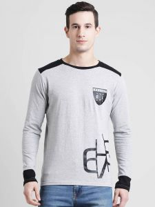 One Liner Colored Pattern Round Neck Full Sleeves Cotton Tees For Men's (Grey)