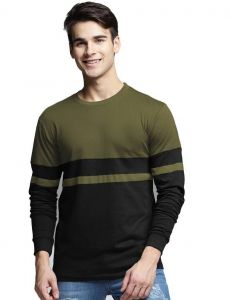 Trendy Multicolored Olive Green & Black Color Partition Pattern Round Neck Tees Full Sleeves Regular Fit Cotton T-Shirt For Men's