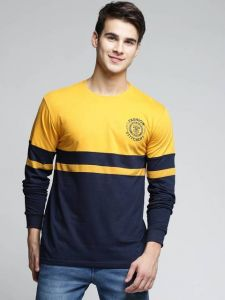 Stylish Multi-colored Pattern Round Neck Full Sleeves Cotton Tees For Men's