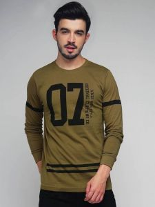 07 D.O.CULT Graphic Printed Text Round Neck Full Sleeves Regular Fit Cotton T-Shirt For Men's (Green)