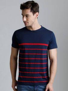 Dillinger Red Stripped Pattern Cotton Round Neck Regular Fit T-Shirt For Men's (Navy Blue)