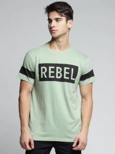 Rebel Graphic Printed Text Round Neck Half Sleeves Regular Fit Cotton T-Shirt For Men's (Green)