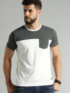 Multicolored Blend with Side Pocket Round Neck Tees Half Sleeves Cotton T-Shirt For Men's (White/Grey)