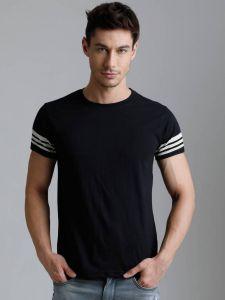 Dillinger Pattern Cotton Round Neck Half Sleeves Men's T-Shirt (Black)