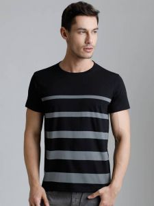 Multicolored Striped Pattern Round Neck Tees Half Sleeves Cotton T-Shirt For Men's