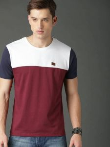 Color Blocked Pattern Round Neck Stylish Half Sleeves Cotton Tees For Men's (Multicolor)