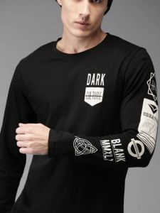Dark Logo Stylish Multi-colored Pattern Round Neck Full Sleeves Cotton Tees For Men's