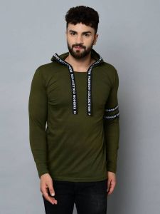 Fashion Collection Self Pattern Tees Full Sleeves Cotton Hooded For Men's