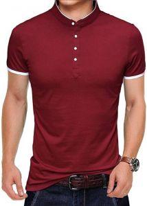 Henley Solid Color Pattern Mandarin Collar Half Sleeves Cotton Tees For Men's (Maroon)