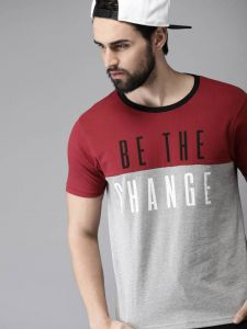 Be The Change Graphic Printed Text Self Pattern Round Neck Half Sleeves Cotton Tees For Men's (Multicolor)