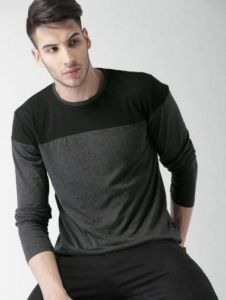 Color Blocked Pattern Round Neck Full Sleeves Cotton Tees For Men's (Grey)