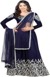 Art Silk Semi Stitched Anarkali Gown (Dark Blue)