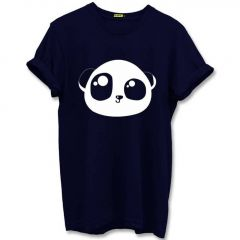 Cute Panda Graphic Printed Cotton Round Neck Half Sleeves Men's T-Shirt (Blue)