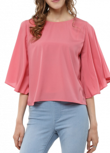Women's Comfortable Bell Sleeves Top (Pink) - Pack of 1