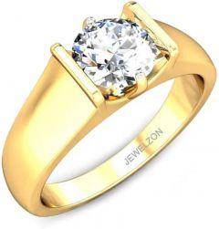 Silver 925 22k Gold Plating Swarovski Solitare Ring For Men | Sterling Silver | Swarovski Crystal |Rhodium Plated Ring