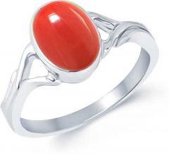 Jewelzon Coral 3.25 Ratti Ring Sterling Silver Emerald Rhodium Plated Ring Sterling Silver Coral Rhodium Plated (Monga) Ring