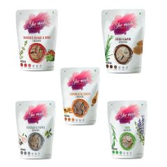 Assorted Crackers Pack (Pack Of 5 - 56.6 Gms X 5) - Sundried Tomato, Caramelized Onion, Jeera Ajwain, Rock Salt Pepper, Herb