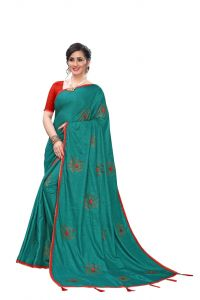 Aaradhya Fashion Designer Dola Silk Foil Printed Saree With Blouse Piece for Women's