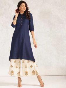 Women Solid Rayon Straight Kurta  (Blue)