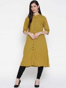 Women Solid Cotton Blend Straight Kurta (Yellow)