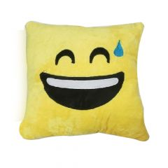 Shree Sai Durga | Yellow Square Shape Cute Emoji Pillow Cushions | Grinning Face with Sweat/ Face Savoring Food/ Smiling Face with Heart-Eyes | (Size - 30cm) (Pack of 1)