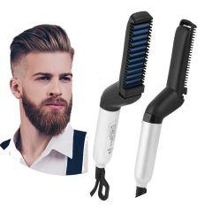 Electric Hair Straightener Brush, Men Quick Beard Straightener Styler Comb, Hair Straightening, Curly Hair Straightening Comb,Side Hair Detangling, Multi functional Hair Curling Curler