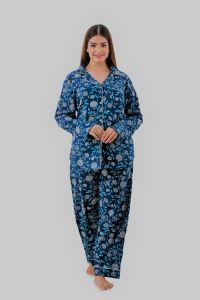 Kalrav Printed Night Suit for Women(Blue Color)