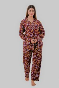 Kalrav Printed Night Suit Yellow Color for Women