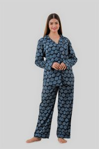 Kalrav Women Self Design Blue Shirt & Pyjama set