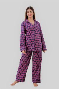 Kalrav Women Self Design Purple Color Shirt & Pyjama set
