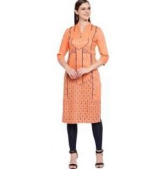 Womens Rayon Fabric, Stitched Straight3|4 Sleeves Kurta (Color:-Beige)