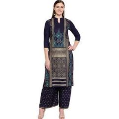 Womens Rayon Fabric, Stitched Straight3|4 Sleeves Kurta with Printed Palazzo (Color:-Navy Blue)