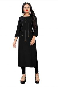 Solid Pattern Rayon Fabric Straight Kurta with Boat Neck for Women
