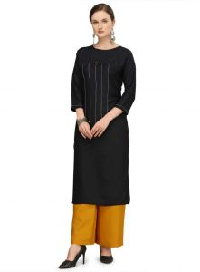 Rayon Fabric Solid Pattern Straight Kurta for Women (Color: Black)