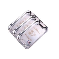 High Grade Stainless Steel Coffee & Tea Tray Made From High Quality Stainless Steel (12 Inch) (Pack of 3)-Steel-Tray-Pck-of-3