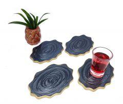 Attractive Epoxy Resin Coaster Aget Style Stone Ovel Irregular Edge Black Set of Coaster for Coffee | Tea | Wine Lovers (4 pcs)