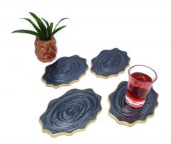 Attractive Epoxy Resin Coaster Aget Style Stone Round Irregular Edge Set of Coaster for Coffee | Tea | Wine Lovers (Color: Black) (Pack of 4)