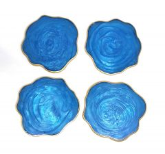 Attractive Epoxy Resin Coaster Aget Style Stone Round Irregular Edge Set of Coaster for Coffee | Tea | Wine Lovers (Color: Blue) (4 Pcs)