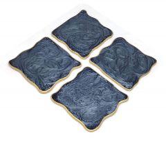 Attractive Epoxy Resin Coaster Aget Style Stone Square Irregular Edge Set of Coaster for Coffee | Tea | Wine Lovers (Black) (4 pcs)