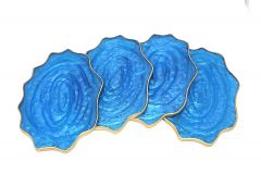 Attractive Epoxy Resin Coaster Aget Style Stone Ovel Irregular Edge Set of (4 pcs)(Color: Blue)