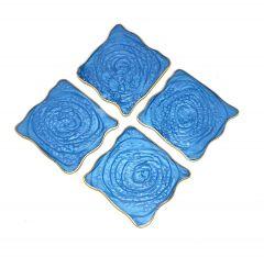 Attractive Epoxy Resin Coaster Aget Style Stone Square Irregular Edge Set of (4 pcs) (Color: Blue)