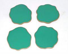 Attractive Epoxy Resin Coaster Aget Style Stone Round Irregular Edge Set of (4 pcs)(Green)