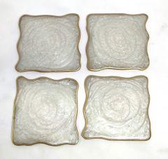 Attractive Epoxy Resin Coaster Aget Style Stone Square Irregular Edge Set of (4 pcs) (Color: White)
